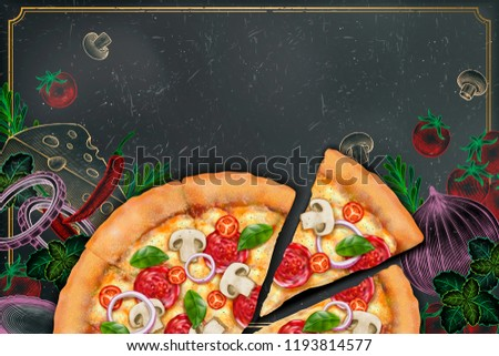3d illustration savoury pizza with rich toppings on engraved style chalk doodle background, copy space for slogan