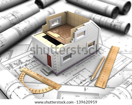 3d illustration scale model of a home