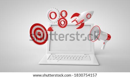 3d illustration. Seo optimization and smm concept. Mock up laptop, loudspeaker, target, settings, rocket