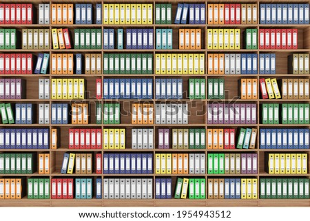 3D illustration. Series of folders of various colors wallets for document classification. Database. Library shelf database.  Foto stock ©