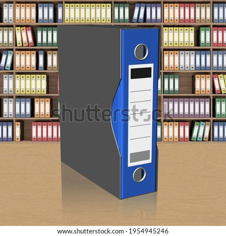 3D illustration. Series of folders of various colors wallets for document classification. Database. Foto stock ©