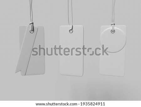 3D Illustration. Set of blank tags tied with a string. Price tag, gift tag, sale tag.