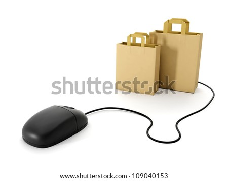 3d illustration: Shopping online. Computer Mouse and a group of paper bags