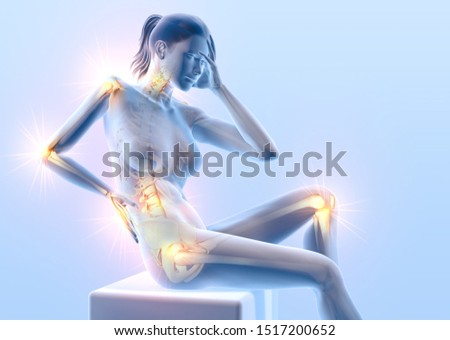 3D illustration showing a woman with painful joints: shoulder, cervical spine, lumbar spine, wrist and hip