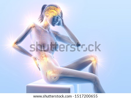 3D illustration showing a woman with painful joints: shoulder, cervical spine, lumbar spine, wrist, hip and nervous system with nerves and brain