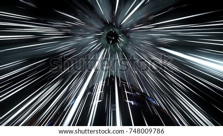 Shutterstock 3D illustration shows a spacecraft faster than light jump or hyper jump into the next solar system or star system. High acceleration causes light from passing stars to blur.