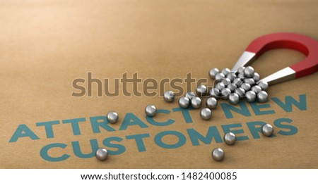 3D illustration. Slogan attract new customers written on paper background with horseshoe magnet attracting spheres