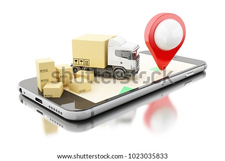 3D illustration. Smartphone with cardboard boxes.  warehouse logistics, packages dispatching and delivery concept. Isolated white background.
