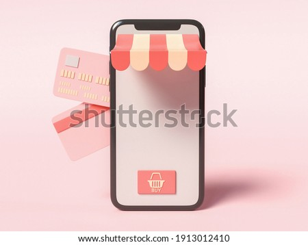 3D Illustration. Smartphone with credit cards on the side. Online shop and e-commerce concept.