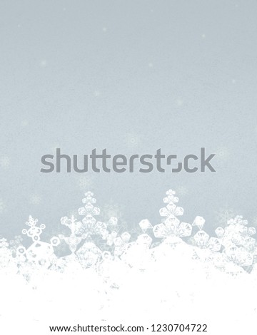 2d illustration. Snowflakes on colorful background. Holy Christmas event time. Decorative paper card. Christmas Eve. Celebration time decoration texture. #1230704722
