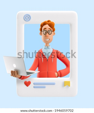 3d illustration. Social media concept. Nerd Larry stand with laptop. Stock foto ©