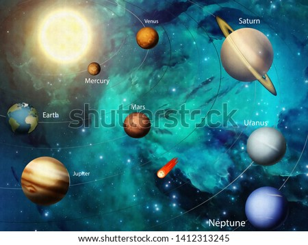 3d illustration, space, distant stars, bright Sun, all planets of the Solar system with orbits, flying comet with a red tail