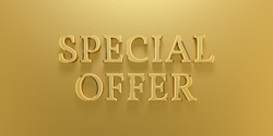3D Illustration Special Offer Gold Text