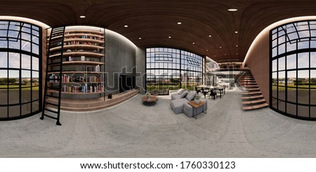 3d illustration spherical 360 vr degrees, a seamless panorama of the room and apartment . interior design 3D rendering.reception in a modern panoramic house.