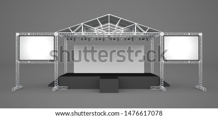 3d illustration stage rigging truss system with blank backdrop and 2 screen projector for concert performance. High resolution image isolated.