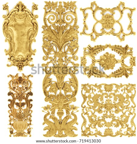 Shutterstock 3d illustration stucco decoration, gold cartouche