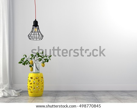 3d illustration. Stylish yellow stool and wire chandelier in a white interior