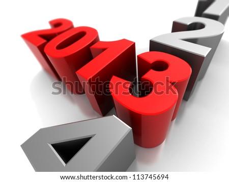 3d illustration, symbol of new year  2013
