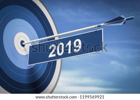 3D illustration Target 2019
