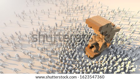 3D illustration technic Business Strategy organize concept wooden stack tower with crowd people standing around on white floor 3D illustration technic