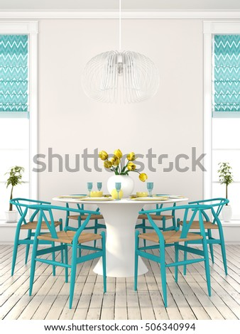 3d illustration. The bright dining room with blue furniture and yellow decor