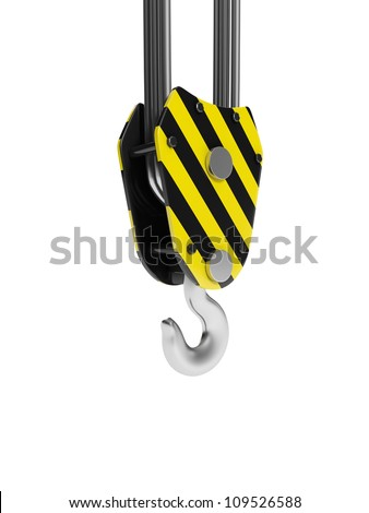 3d illustration: The hook of a crane in close-up