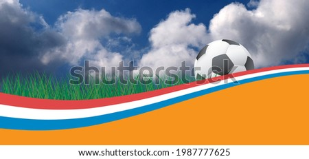 3D-illustration. the Netherlands, Dutch or Holland flag. Soccer green, orange football grass field. blue sky background banner for EK, WK play model. Sport finale. Foot ball sign. 2020, 2021, 2022 Stok fotoğraf ©