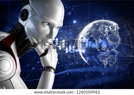 3D illustration. The robot holds the hand. New technologies. Artificial Intelligence. The robot is thinking. Digital life. Planet Earth. New life. Earn online. #1260104962