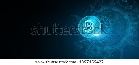 3D Illustration token cryptocurrency Bitcoin gold symbol on future internet cashless currency wallet safe trade on digital online 5G technology blockchain stock market disrupt transform financial bank