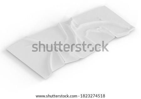 Wall mural 3D Illustration. Towel mockup isolated on white background. Realistic purple towel. Home decoration concept.
