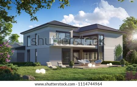 3D illustration township townhouses; cottage; 3d illustration; 300 dpi; cottage 3d