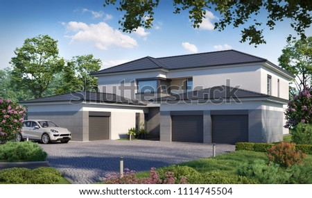 3D illustration township townhouses; cottage; 3d illustration; 300 dpi; cottage 3d