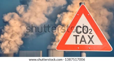 3D illustration, Traffic sign CO2 tax