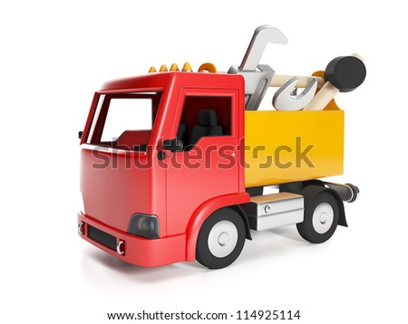 3d illustration: Transport technology. Truck and a box of tools, help to repair