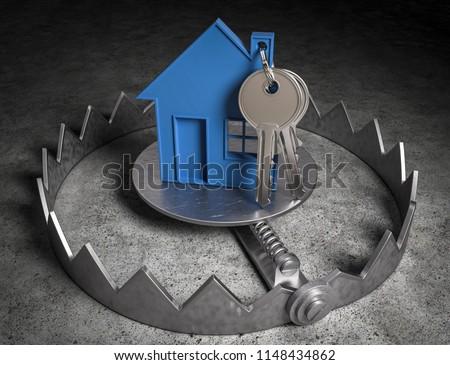 3d illustration trap real estate