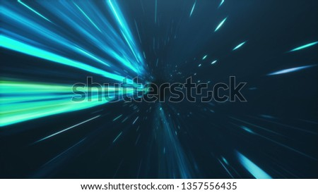 3D illustration tunnel or wormhole, tunnel that can connect one universe with another. Abstract speed tunnel warp in space, wormhole or black hole, scene of overcoming the temporary space in cosmos
