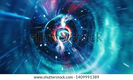3D illustration tunnel or wormhole, tunnel that can connect one universe with another. Abstract speed tunnel warp in space, wormhole or black hole, scene of overcoming the temporary space in cosmos.