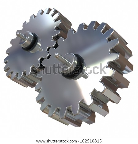 3d illustration, two gears of silver alloy rotate around its axis