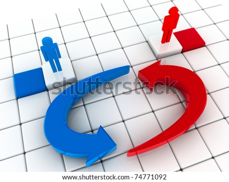 3d illustration, two  men are engaged in business negotiations