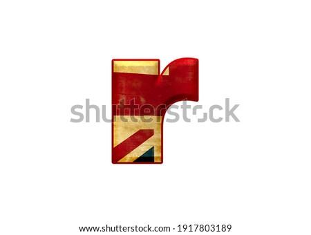 3d illustration Union Jack flag letter r, alphabet font great britain, isolated design element Photo stock ©