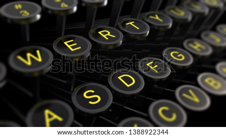 3d illustration: Vintage typewriter keys with yellow letters close-up, focus in the center, blur at the edges. Writer's concept of writing texts, books, scripts, etc.