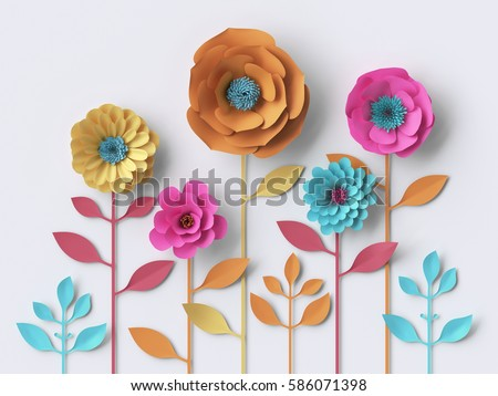 3d illustration, vivid paper flowers, bright holiday floral background, Mother's day greeting card, easter wallpaper