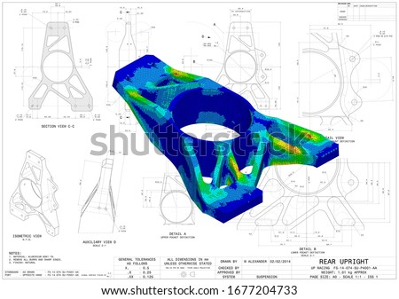 3D Illustration. Von Mises stress isometric view of car suspension upright without scale on top of engineering technical drawing Stock fotó ©