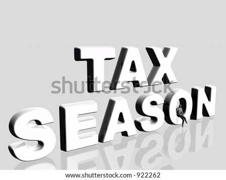 3D illustration, wallpaper, background representing the agony of the tax season. Copy space