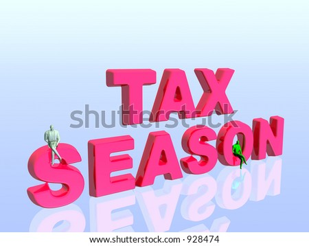 3D illustration, wallpaper, background the tax season. Copy space, clipping path available.