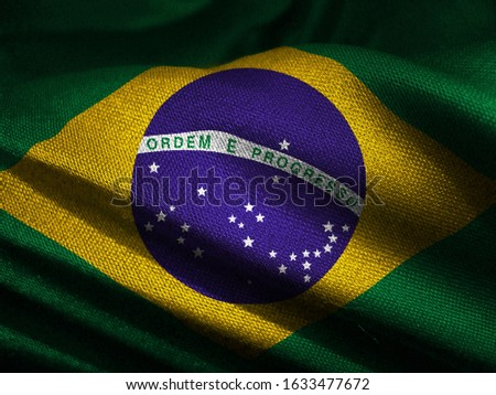 3d illustration waving brazilian flag