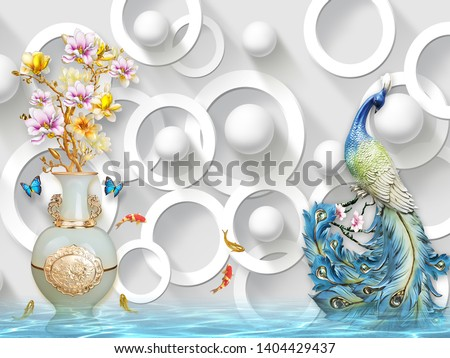 3d illustration, white background, white rings and balls, white gilded vase with pink and yellow flowers, colored fish, blue butterflies, blue peacock with a long tail