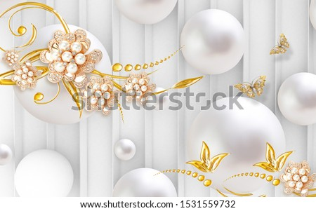 3d illustration, white background with vertical lines, white balls, abstract gold ornamental flowers with pearls and crystals