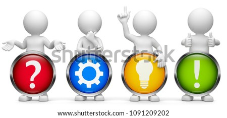 3D Illustration white 3d male feature and rendering buttons