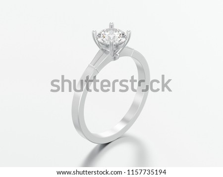 3D illustration white gold or silver traditional solitaire engagement diamond ring on a grey background #1157735194